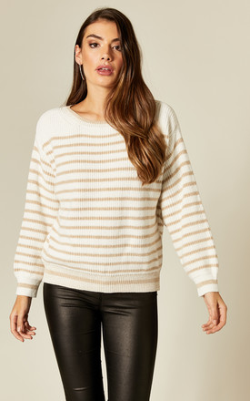 Knitted Jumper in Beige & White Stripe by Suzy D