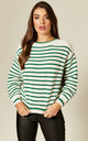 Knitted Jumper in Green & White Stripe by Suzy D