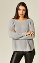 Distressed Knit Jumper in Light Grey by Suzy D