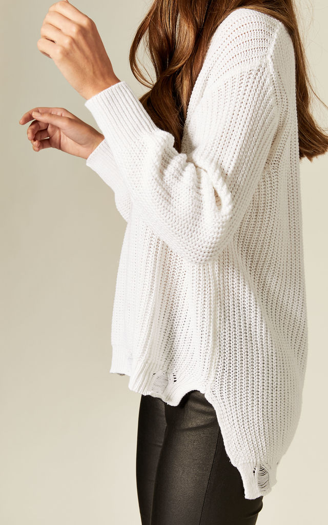 Distressed Knit Jumper in White by Suzy D