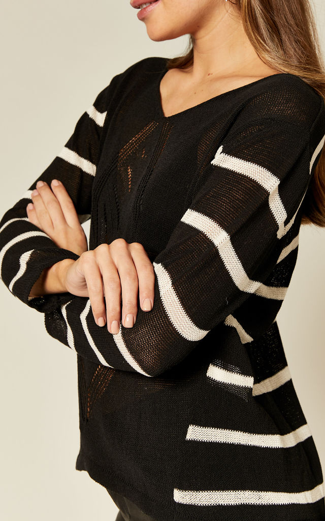 Black Sheer Crochet Front Jumper with Stripe Sleeves by Suzy D