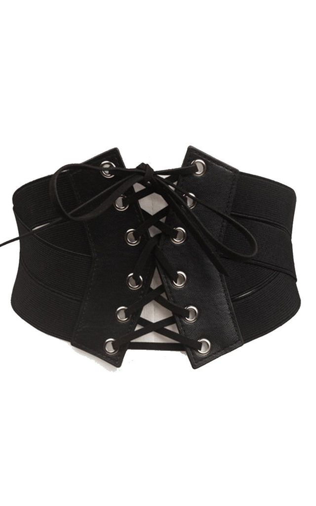 BLACK LEATHER WIDE CORSET BELT by LOES House