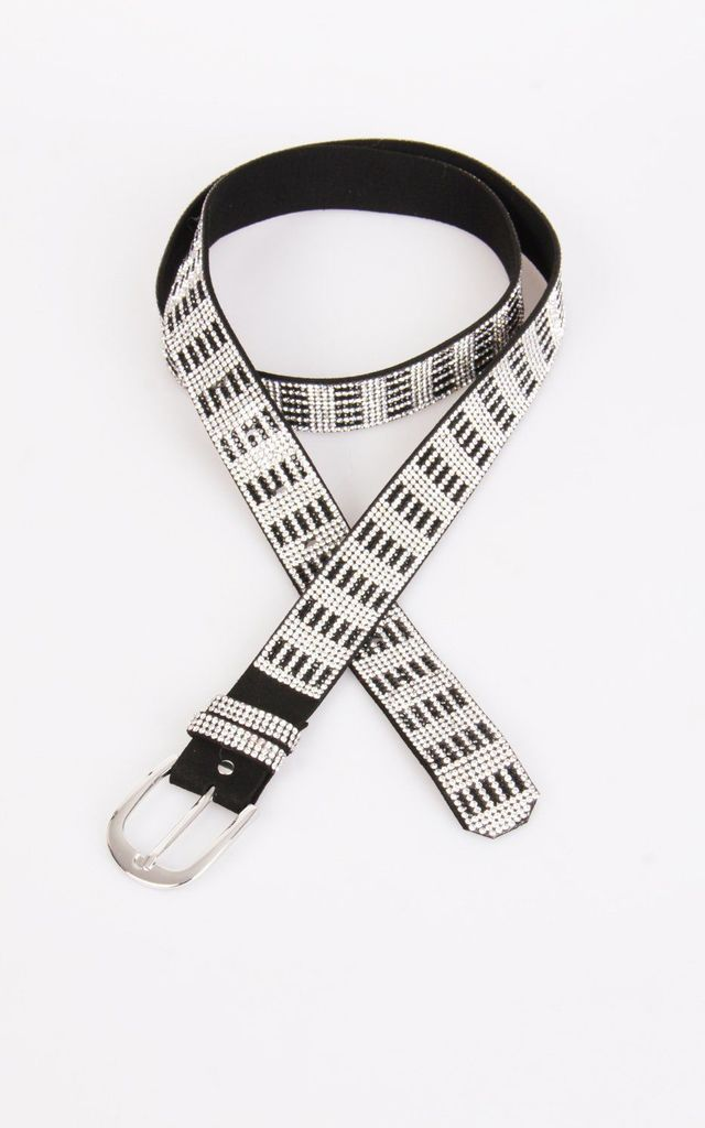 DIAMANTE SQUARE DESIGN BUCKLE BELT in silver by LOES House