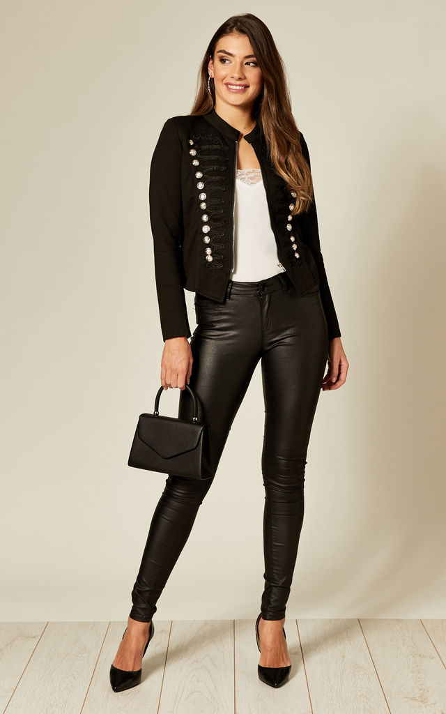 Black Military Style Blazer by Cutie London