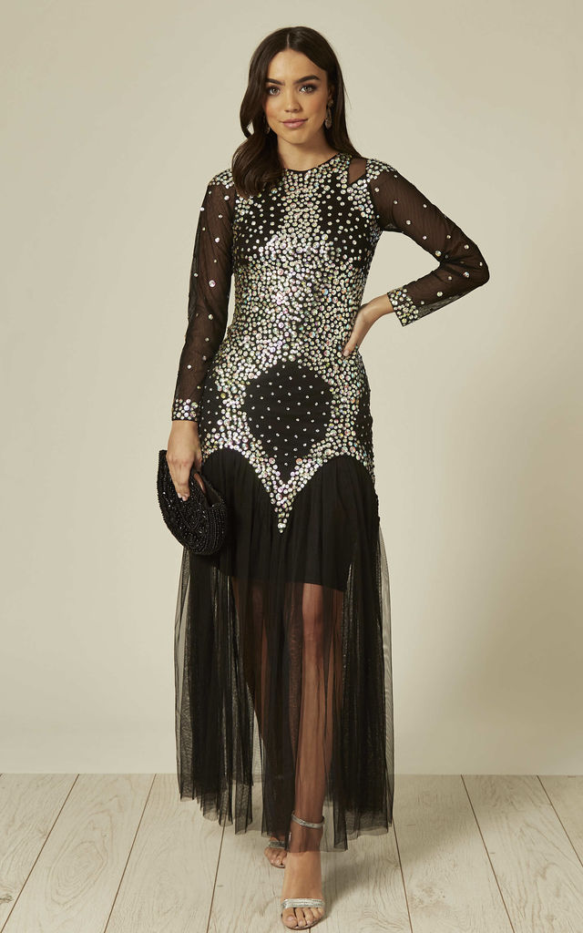 Sandra Embellished Maxi dress with Sheer Sleeves in Black by Damn Good Thing