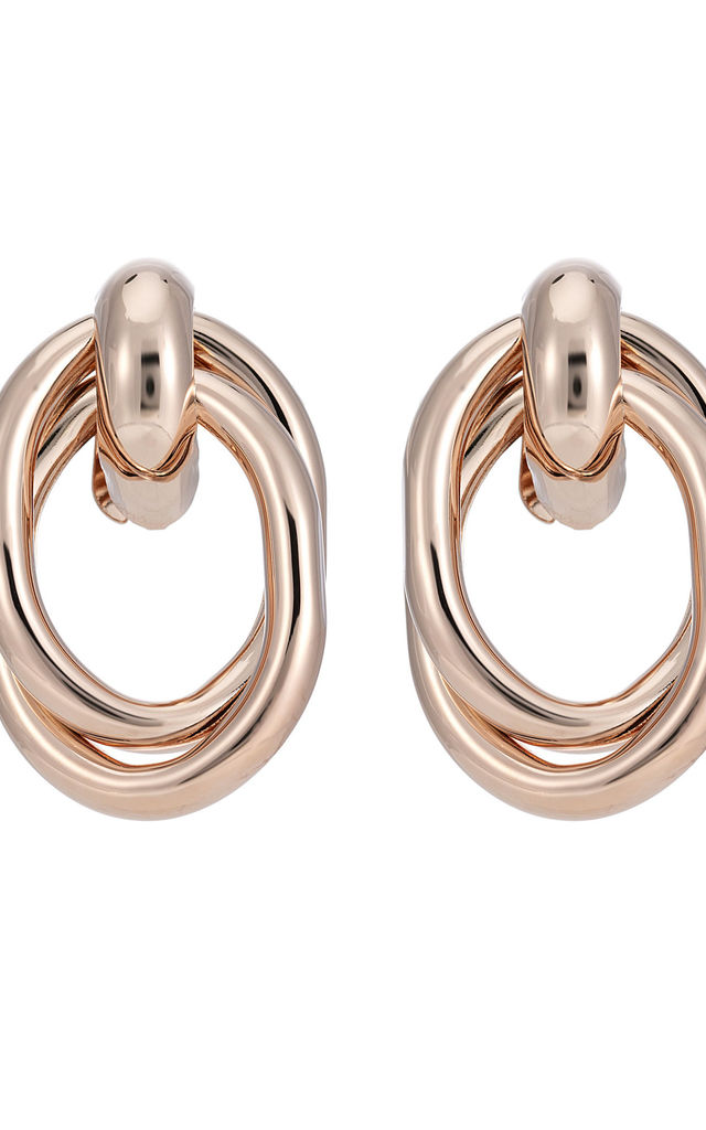 BE BOLD DOUBLE LOOP EARRINGS IN ROSE GOLD by Belle & Beau