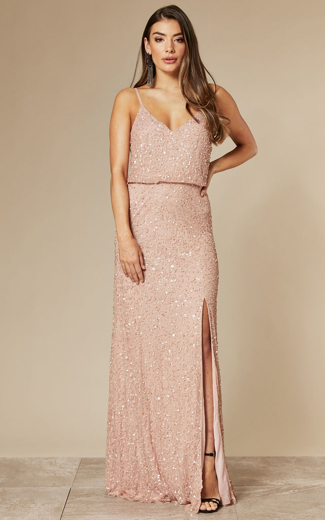 Bridesmaid Light Pink Maxi Dress with Embellished Scatter Sequins by ANGELEYE