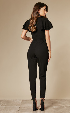 RUFFLE SLEEVE JUMPSUIT IN BLACK by WalG