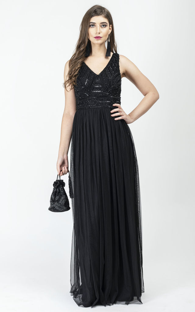Lydia Drop Waist V Neck Maxi Dress in Black by Gatsbylady London