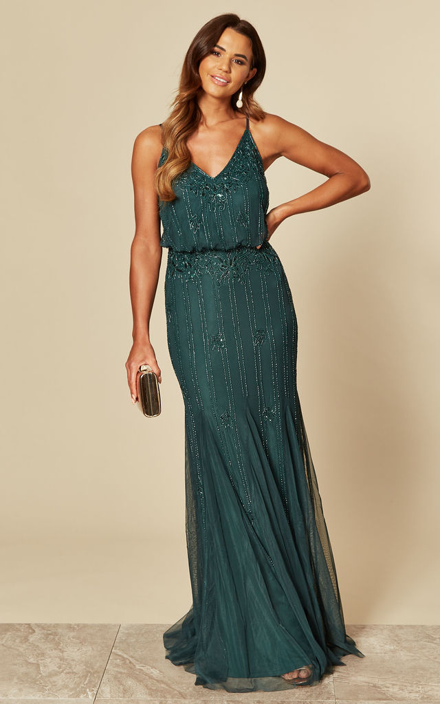 Exclusive Keeva Maxi Dress in Dark Green by Lace & Beads
