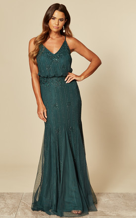 Exclusive Keeva Maxi Dress In Dark Green by Lace & Beads Product photo