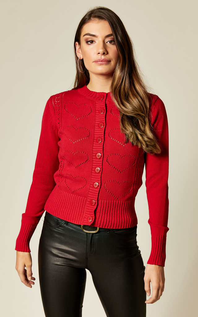 Regina Red Knitted Cardigan with Hearts by Voodoo Vixen