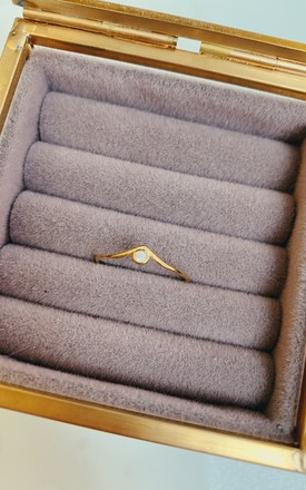 Gold Plated Sterling Silver Ring with Cubic Zirconia by Gold Lunar