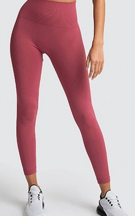 Seamless Yoga Workout Set in Pink by Stefanie London