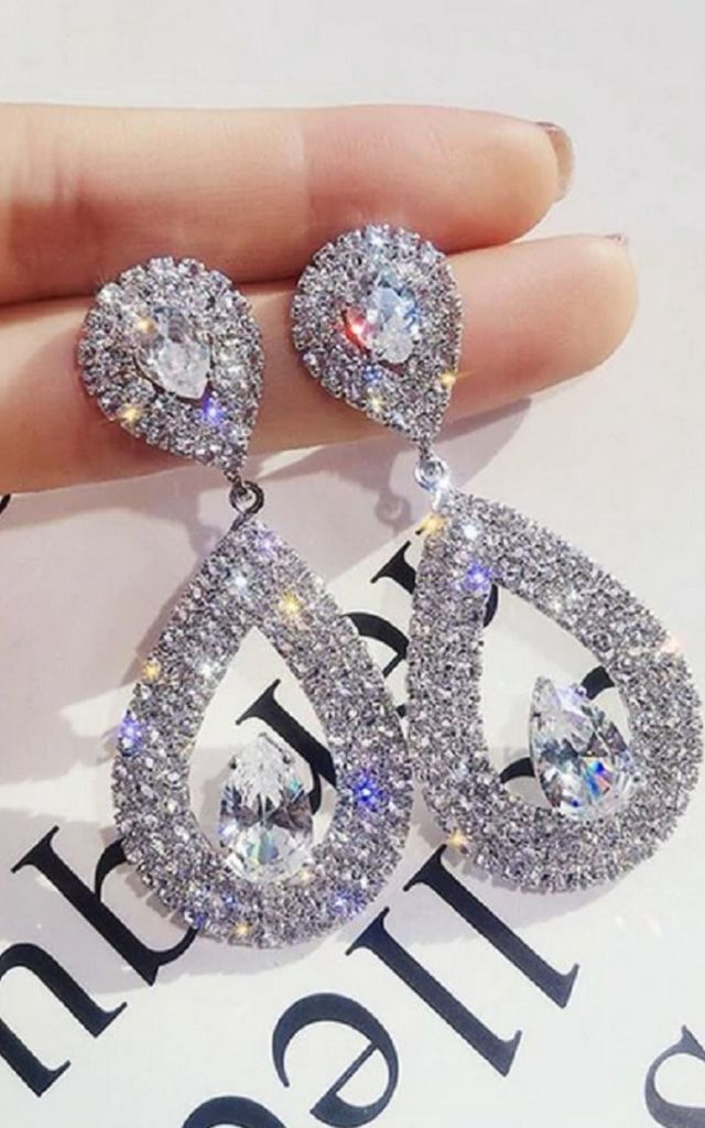 Egale Silver Oval Crystal Diamante Bridal Earrings by GIGILAND