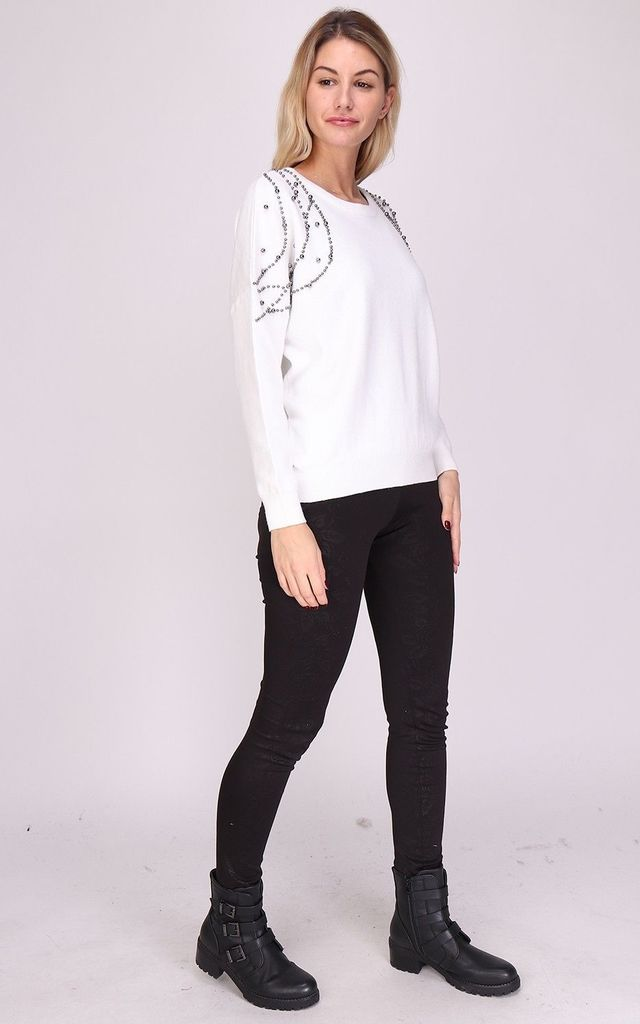 White Knitted Jumper with Metal Stud Detailing by Azzediari Clothing