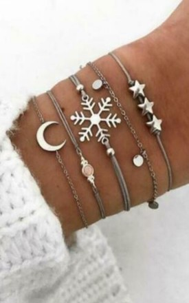 Pack of 5 | Snowflake Moon and Stars Grey Bracelet Set by GIGILAND