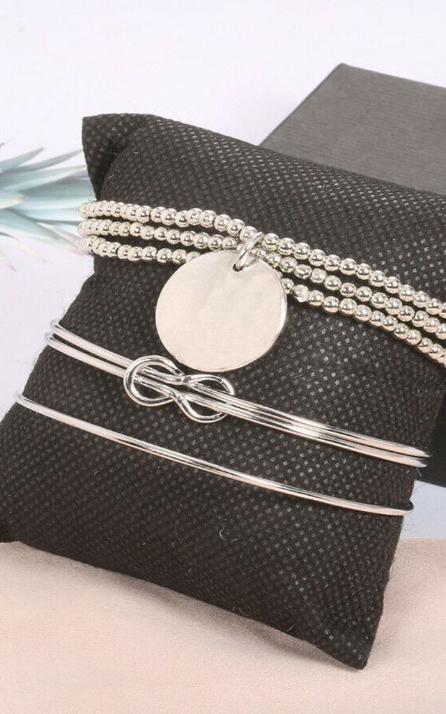 Pack of 3 | Silver Eternity Knot chain Bracelet Set by GIGILAND