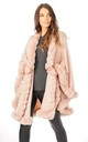 Ultra Soft Faux Fur Trim Swing Poncho Cape IN BLUSH PINK by LOES House