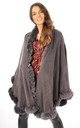 Ultra Soft Faux Fur Trim Swing Poncho Cape IN CHARCOAL GREY by LOES House