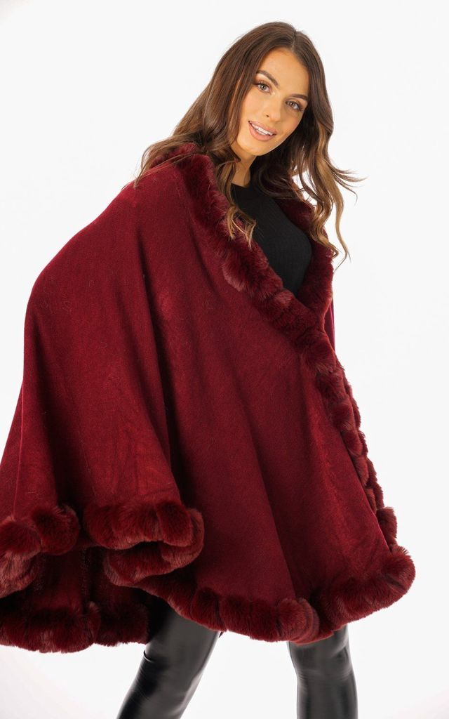 Ultra Soft Faux Fur Trim Swing Poncho Cape IN WINE by LOES House