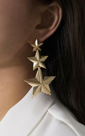 Gold Triple Star Statement Earrings In Gold by GIGILAND Product photo