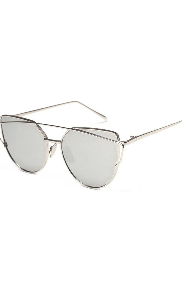 Grey/Silver METAL FRAME CAT EYE SUNGLASSES with DOUBLE BRIDGE by LOES House