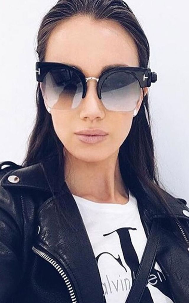 HALF CAT EYE SUNGLASSES IN BLACK/GREY/GOLD by LOES House