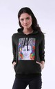 Hoodie with Girl Print in Black by Bergamo