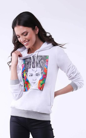 Hoodie with Girl Print in Ecru by Bergamo