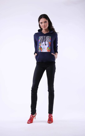 Hoodie with Girl Print in Navy Blue by Bergamo