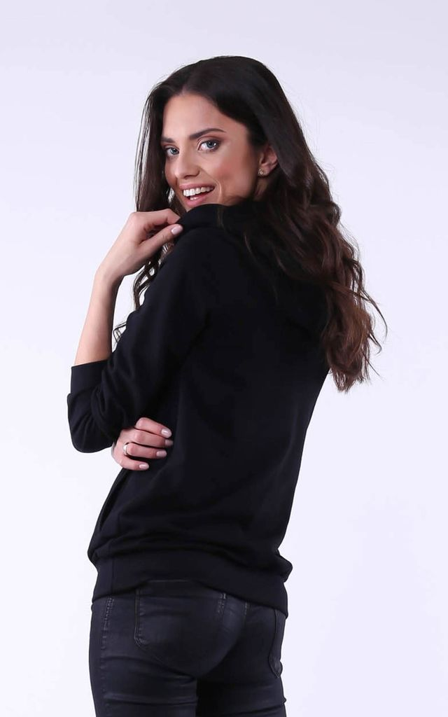 Comfy Hoodie with Head Print in Black by Bergamo
