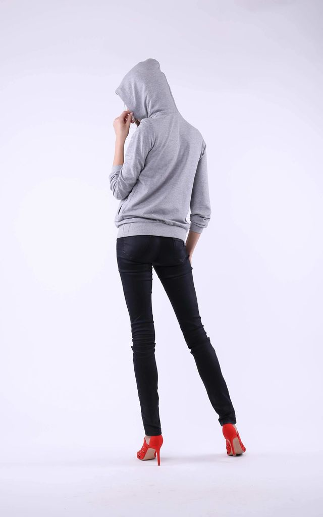 Comfy Hoodie with Head Print in Grey by Bergamo