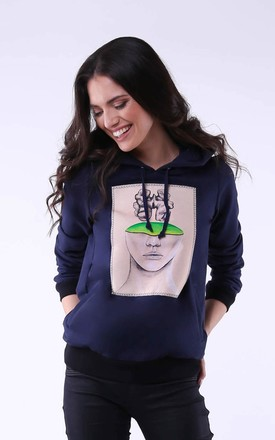 Comfy Hoodie with Head Print in Navy Blue by Bergamo