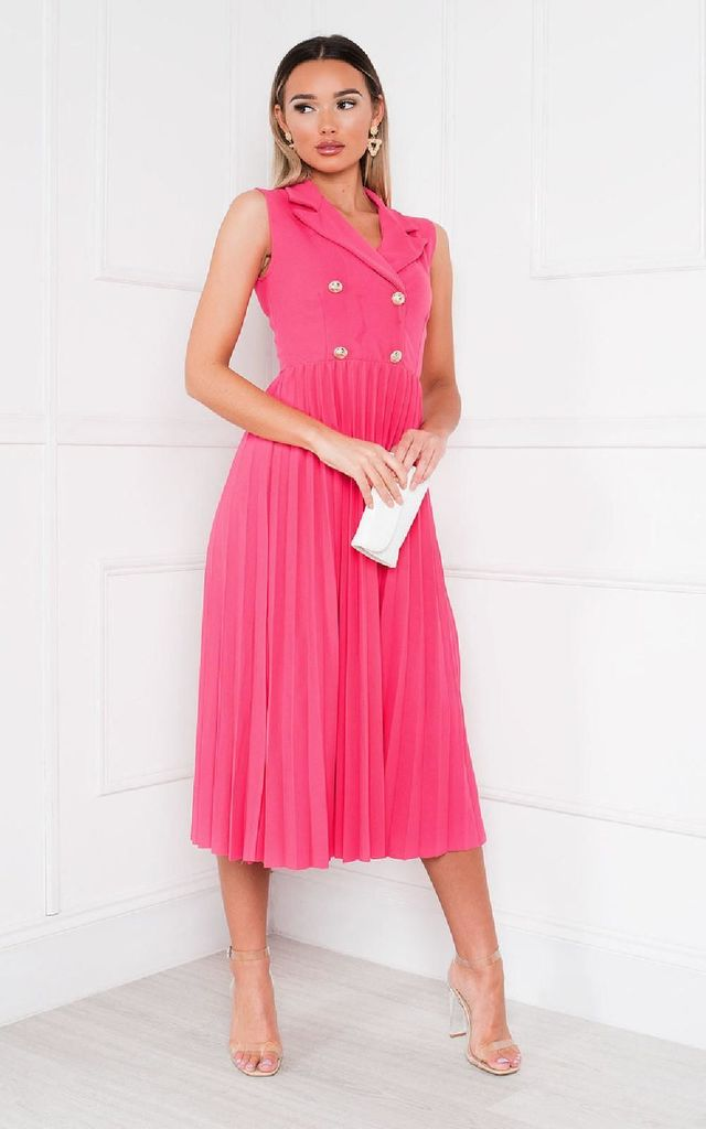 Corin Pleated Midi Dress in Fuschia Pink by IKRUSH