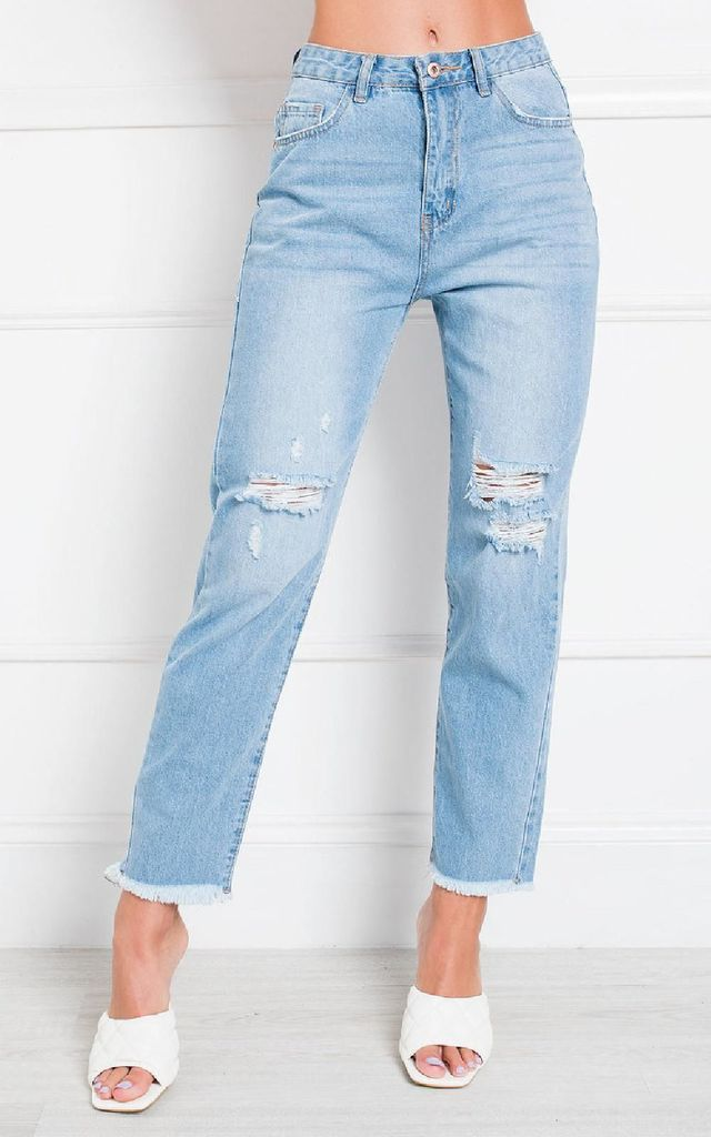Jay Distressed Straight Leg Jeans by IKRUSH