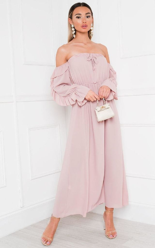 Effy Off Shoulder Maxi Dress in Pink by IKRUSH