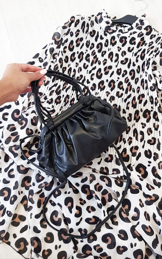 Emrata Faux Leather Pouch Bag in Black by IKRUSH