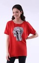 Cozy and Comfy Skull Print Tunic in Red by Bergamo