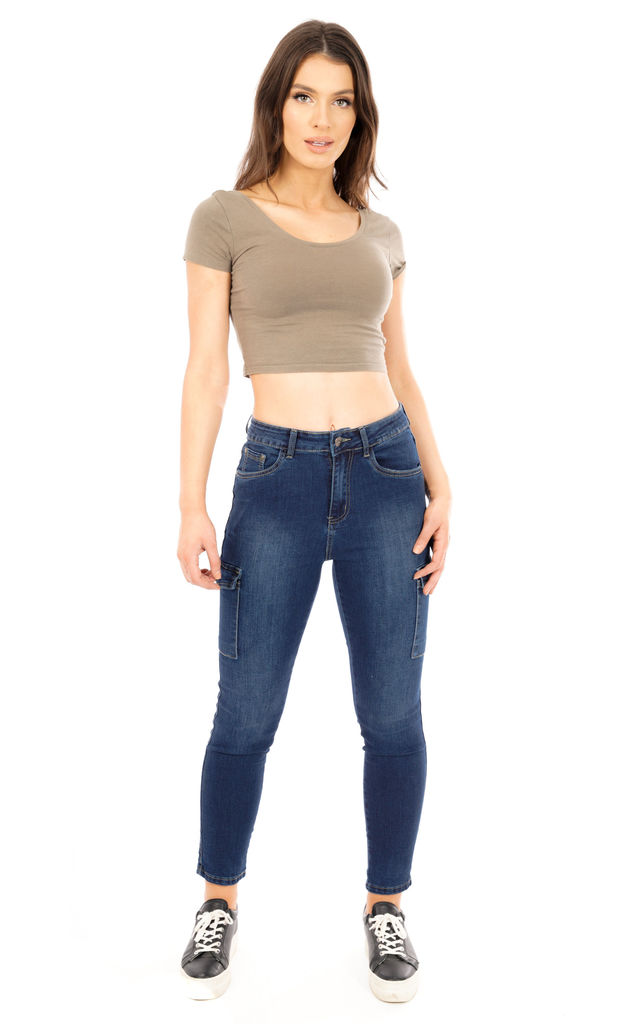 Dark Blue High Rise Short Leg Cargo Jeans by Glamour Outfitters