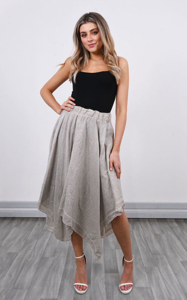 Linen Asymmetric Skirt in Beige by Lucy Sparks