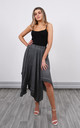 Linen Asymmetric Skirt in Charcoal by Lucy Sparks