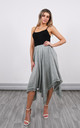 Linen Asymmetric Skirt in Army Green by Lucy Sparks