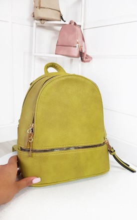 Dora Faux Leather Backpack Bag in Lime by IKRUSH