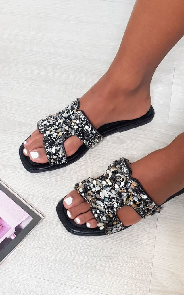 Sasha Open Toe Embellished Sandals in Black by IKRUSH