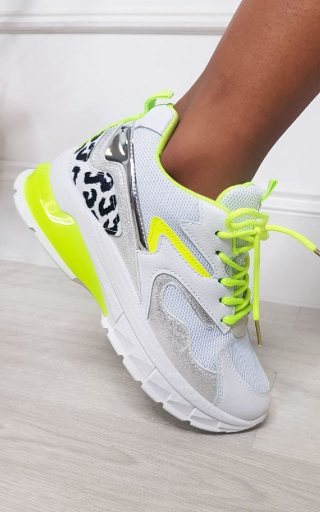 Lumia White Chunky Trainers with Leopard Print & Neon by IKRUSH
