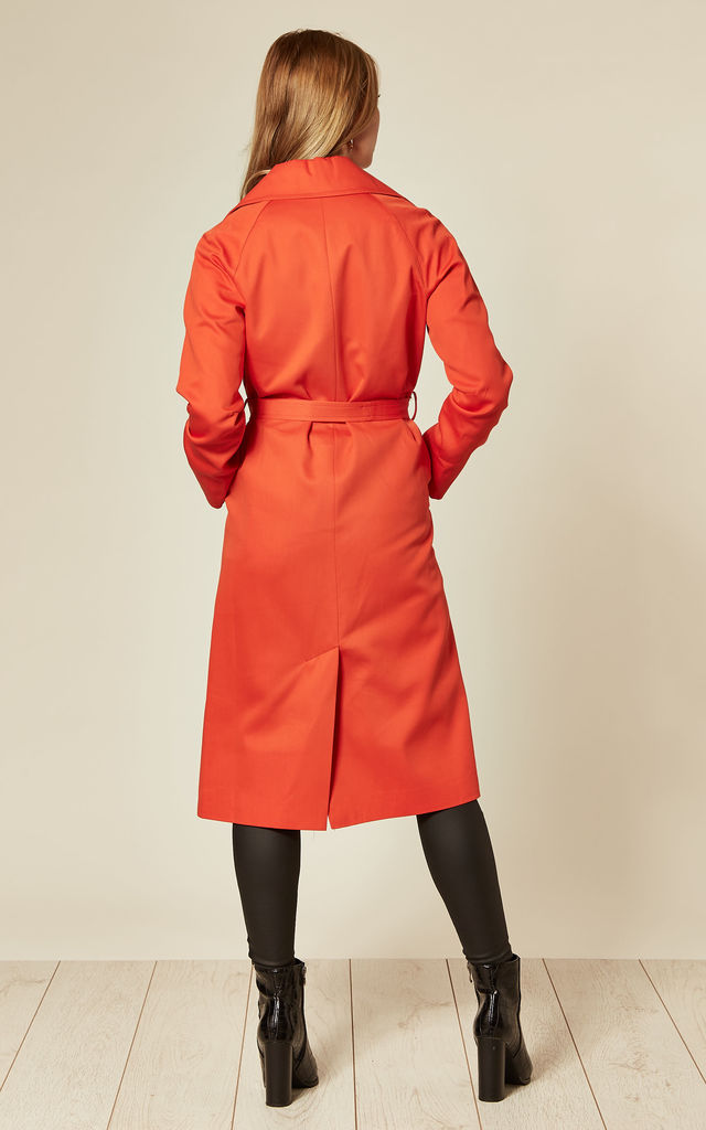 Louise Red Wrap Around Duster Trench Coat by De La Creme Fashions