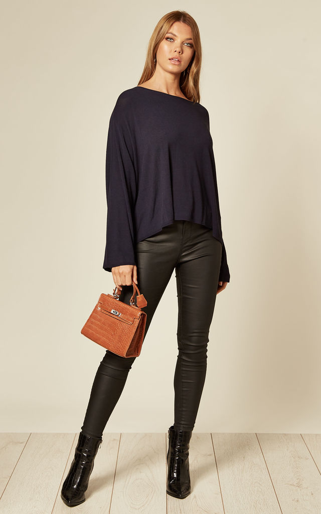 Cropped Knit Jumper in Navy by Suzy D