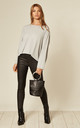 Cropped Knit Jumper in Light Grey by Suzy D