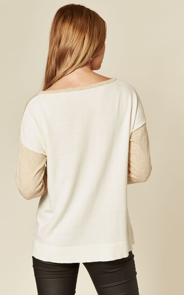 Beige Jumper with Contrast Cream Back by Suzy D